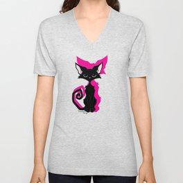 Black Cat - Hot Pink Unisex V-Neck