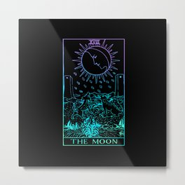 The Moon Tarot Card Rider Waite Witchy Metal Print