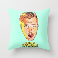 queens of the stone age Throw Pillows featuring Josh Homme, Queens of the Stone Age by Morgane Dagorne