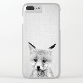 Baby Fox - Black & White Clear iPhone Case