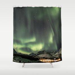 Green Northern Light Tromsø Mountains Photo | Aurora Borealis Norway Art Print | Travel Photography Shower Curtain