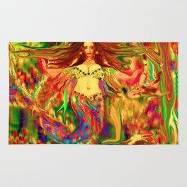 Red mermaid art  nude ladykashmir Rug