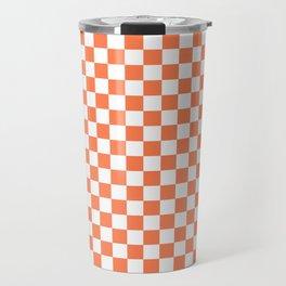 Living Coral Color Checkerboard Travel Mug