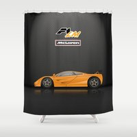 f1 Shower Curtains featuring McLaren F1 LM by vsixdesign