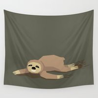 sloth Wall Tapestries featuring sloth by parisian samurai studio