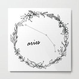 Floral Aries Constellation Metal Print
