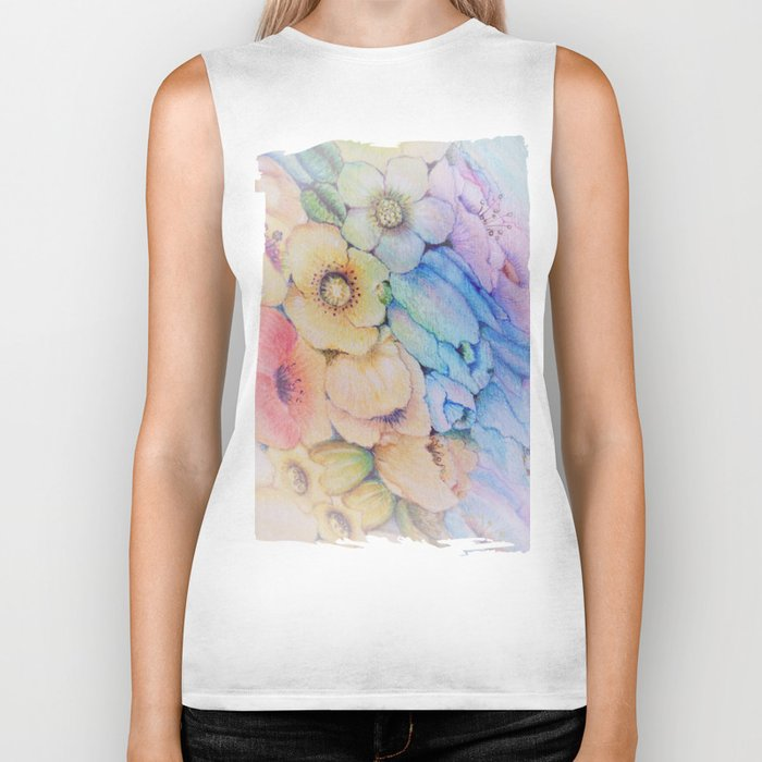 Summer fantasy with by hand drawn flowers. Biker Tank