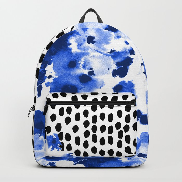 Monroe - painted abstract watercolor ink polka dots dotted indigo blue minimalism nursery Backpack