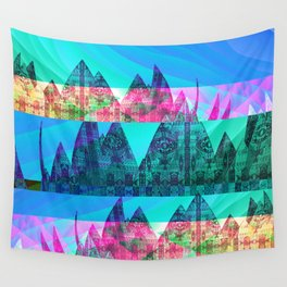 Retro Glitch Mountain Scene Wall Tapestry