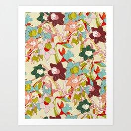 floral pattern vintage Art Print