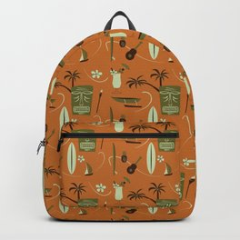 Orange Retro Hawaiian Tiki Hawaii Beach Backpack