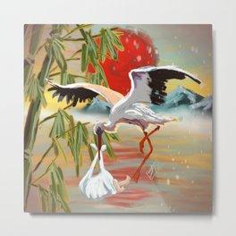 Stork and Baby Metal Print