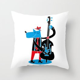 Jazzy Dog I Throw Pillow