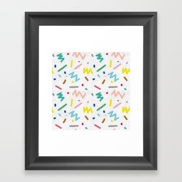 Memphis Pattern Stripes Zigzag and Blobs Gerahmter Kunstdruck