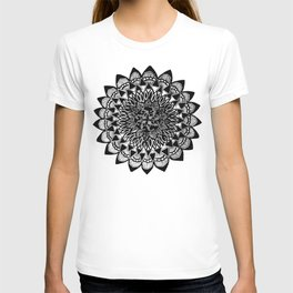 Black and White Hand-Drawn Detailed Mandala T-shirt