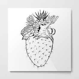 Succulent Heart Metal Print