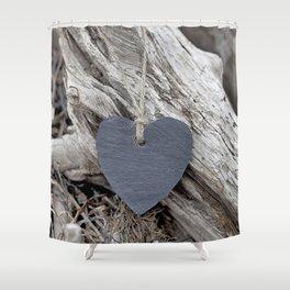 Beach Love Slate Heart on sea washed driftwood Shower Curtain