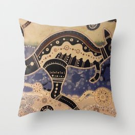 Kangaroo mural Throw Pillow