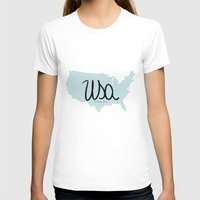 usa T-shirts featuring USA by Gabriela Fuente
