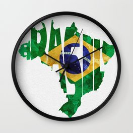 Brasil Typographic World Map / Brasil Typography Flag Map Art Wall Clock
