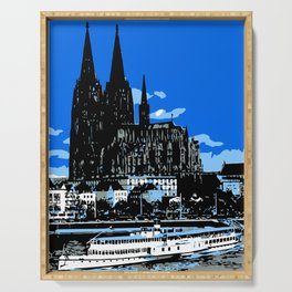 Koeln Cologne retro vintage style travel advertising Serving Tray