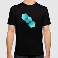 Dancing Hexagons in Blue MEDIUM Mens Fitted Tee Black