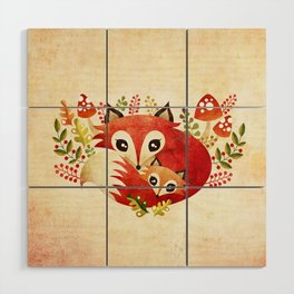 Fox Mom & Pup Wood Wall Art
