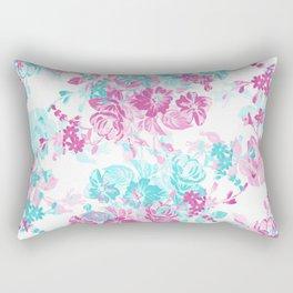 Modern vintage white pink teal watercolor floral Rectangular Pillow