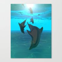 dolphins Canvas Prints featuring Dolphins by tvoneiro
