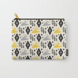 Mid Century Modern Boomerang Abstract Pattern Gray and Yellow 161 Carry-All Pouch