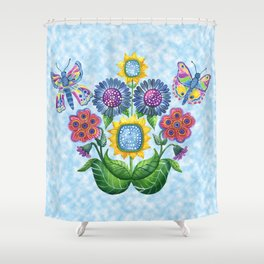 Butterfly Playground on a Summer Day Shower Curtain