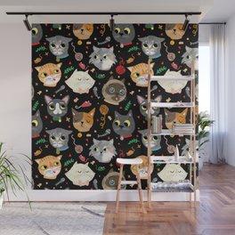 Neighborhood Cats in Black Wall Mural