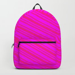 Fuchsia and Deep Pink Colored Striped Pattern Backpack