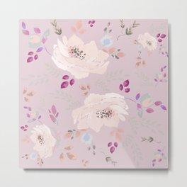 Soft pink blooming watercolor roses Metal Print