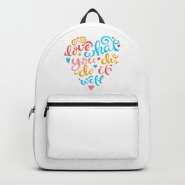A lovely quote on a paradisiac sundown  landscape Backpack