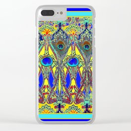 Decorative Blue Peacock Art Nouveau Themed Design Clear iPhone Case
