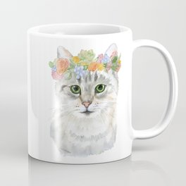 Gray Tabby Cat Floral Wreath Watercolor Coffee Mug