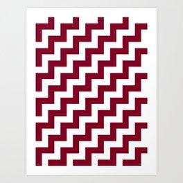 White and Burgundy Red Steps RTL Art Print
