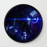 mass effect Wall Clocks featuring Mass Effect: Legion by Ruthie Hammerschlag