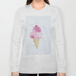 Ice cream Love Summer Watercolor Illustration Long Sleeve T-shirt