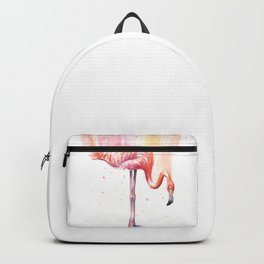 Pink Flamingo Watercolor Bird Animals Whimsical Animal Backpack