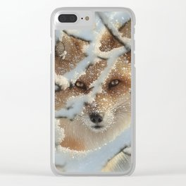 Red Fox - Hide and Seek Clear iPhone Case