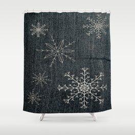 Denim Snowflake Shower Curtain