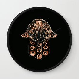 Golden Hamsa Hand On A Black Background #decor #society6 Wall Clock