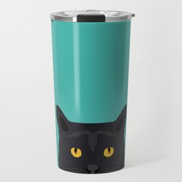 Cat head black cat peeking gifts for cat lovers pet portraits Travel Mug