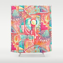 Sunshine Geometry in Watercolor Shower Curtain