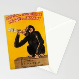 Vintage Anisette Liquor Italian Drinking 'Drunken Monkey' Aperitif Advertisement Poster Stationery Cards