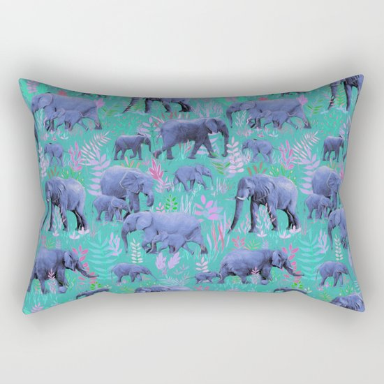 Sweet Elephants in Bright Teal, Pink and Purple Rectangular Pillow
