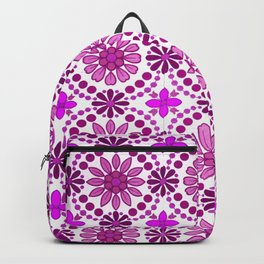 Magenta pink white abstract geometrical floral Backpack