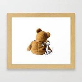 DIDI hugs his teddy bear Framed Art Print